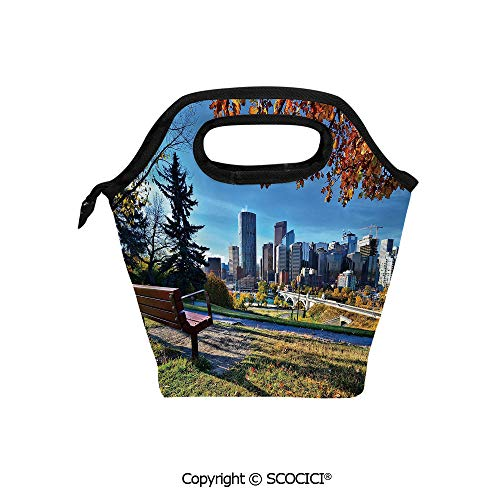 (Portable thickening insulation tape Lunch bag Park Bench Overlooking the Skyline of Calgary Alberta During Autumn Tranquil Urban for student cute girls mummy bag.)