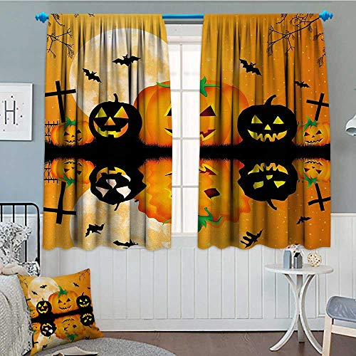 Anniutwo Halloween Window Curtain Fabric Spooky Carved Halloween Jack o Lantern and Full Moon with Bats and Grave Lake Drapes For Living Room 72
