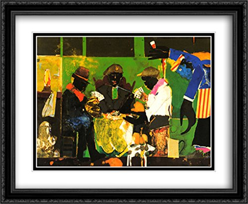 Card Players, 1982 2X Matted 34x28 Large Black Ornate Framed Art Print by Bearden, Romare
