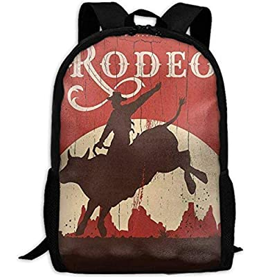 CYMO Cowboy Riding Bull Wooden Unique Casual Backpack School Bag Travel Daypack Gift: Toys & Games