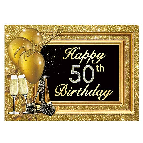 Personalized Balloons With Photo (Funnytree 7x5ft 50th Happy Birthday Party Backdrop Adult Golden Balloons Glitter Photo Background Metallic Luxury Fifty Years Old Age Cake Table Decorations Photobooth)