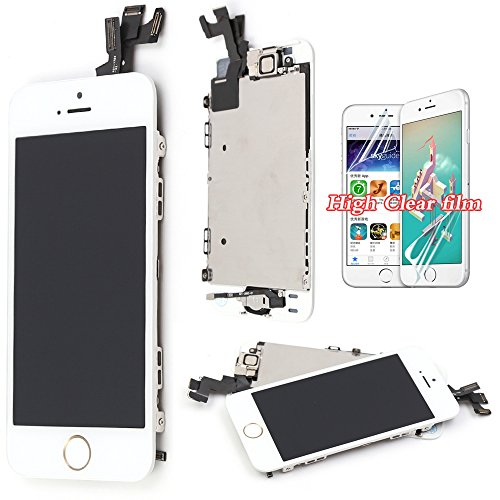 Screen Replacement For iPhone 5S LCD Touch Display – White Recyco Full Set Digitizer Assembly With Home Button and Camera + Free Screen Protector