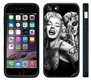 Apple iPhone 6 Black Rubber Silicone Case - Marilyn Monroe Day of the Dead Sugar Skull Tattoos Dia de Los Muertos by mcsharks