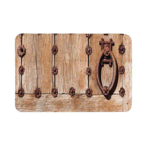 C COABALLA Rustic Durable Door Mat,Spanish Entrance of Rusty Medieval Style Handlers Archway Facade Historical Image Decorative for Living Room,19.6