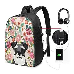 Backpack Schnauzer Dog Floral Pattern Flower USB Backpack Durable Laptop Backpack Portable Travel Backpack Waterproof Shoulder Bag with Side Pockets & Comfortable Strap for Women Men