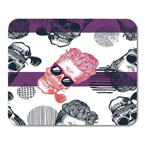 Sunglasses Bone Stripe - Nakamela Mouse Pads Pink Bone Grungy with Human Skulls Wearing Sunglasses Mustache and Smoking Tobacco Pipes Against Circles Mouse mats 9.5