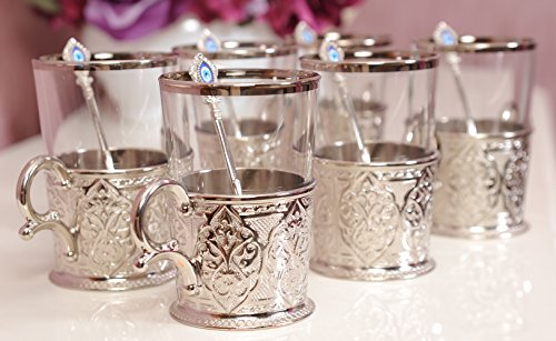 Demmex CopperBull 2018 Unique Decorated Tea Coffee Glasses Cups with Holders & Spoons, 200ml (Silver - Set of (Decorated Coffee Spoons)