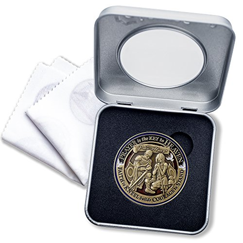 Prayer Armor of God Challenge Coin with Deluxe Display Tin Box and bonus polishing cloth