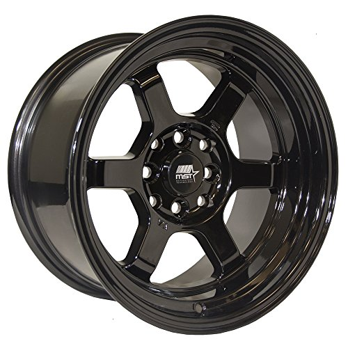 MST Time Attack Rim 15×8 4×100 / 4×4.5 Offset 0 Black (Quantity of 1)