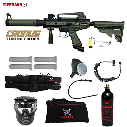 MAddog Tippmann Cronus Tactical Paintball Specialist Paintball Gun Package - Black/Olive