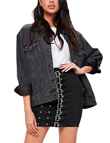 Black Denim Stretch Jacket - Eliacher Women's Boyfriend Denim Jacket Long Sleeve Loose Jean Jacket Coats (XL, Black Washed)