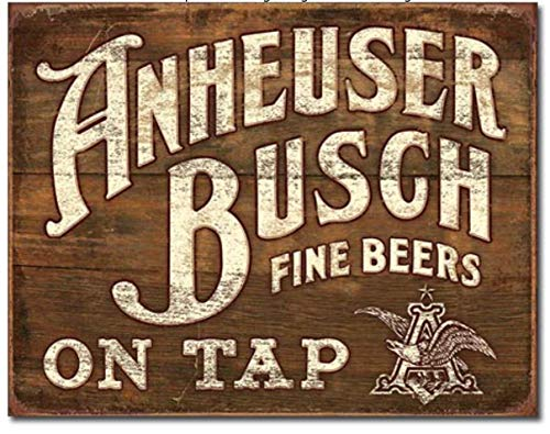 ShopForAllYou Vintage Decor Signs Anheuser Busch Metal TIN Sign On Tap Budweiser Beer Bud Retro Vintage Look New