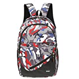 GBSELL Women Girl Travel Sport Canvas Camouflage Satchel School Bag Backpack (Red)