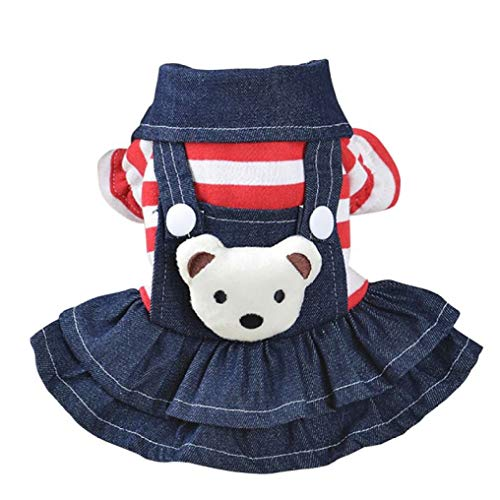 YOTATO Autumn White Warm Dot Dog Dress Fashion Puppy Cat Strap Denim Skirt Pet Clothes Apparels