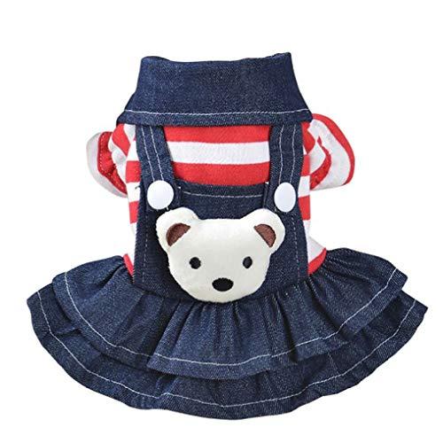 YOTATO Autumn White Warm Dot Dog Dress Fashion Puppy Cat Strap Denim Skirt Pet Clothes Apparels
