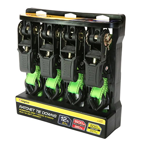 Premium Ratchet Tie Downs - 4 Pk - 12 Ft - 500 Lbs Load Cap - 1,500 Lbs Break Strength - Cargo Straps for Moving Appliances, Lawn Equipment, Motorcycles, etc. - GREEN (Green Equipment Lawn)