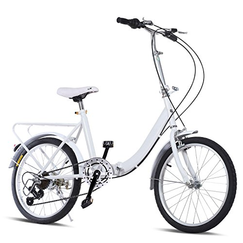 ed Loop Folding Bike Men/Lady Beach Cruiser Bicycle for Urban Commuter, City Sports, School White (US STOCK) (Men Small Cruiser)