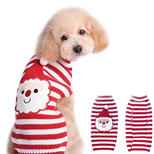 [NACOCO Santa Claus Pet sweater Dog sweaters Cold Weather Outfit for small to medium sized dogs and cats for Christmas day] (Dog Outfits For Christmas)