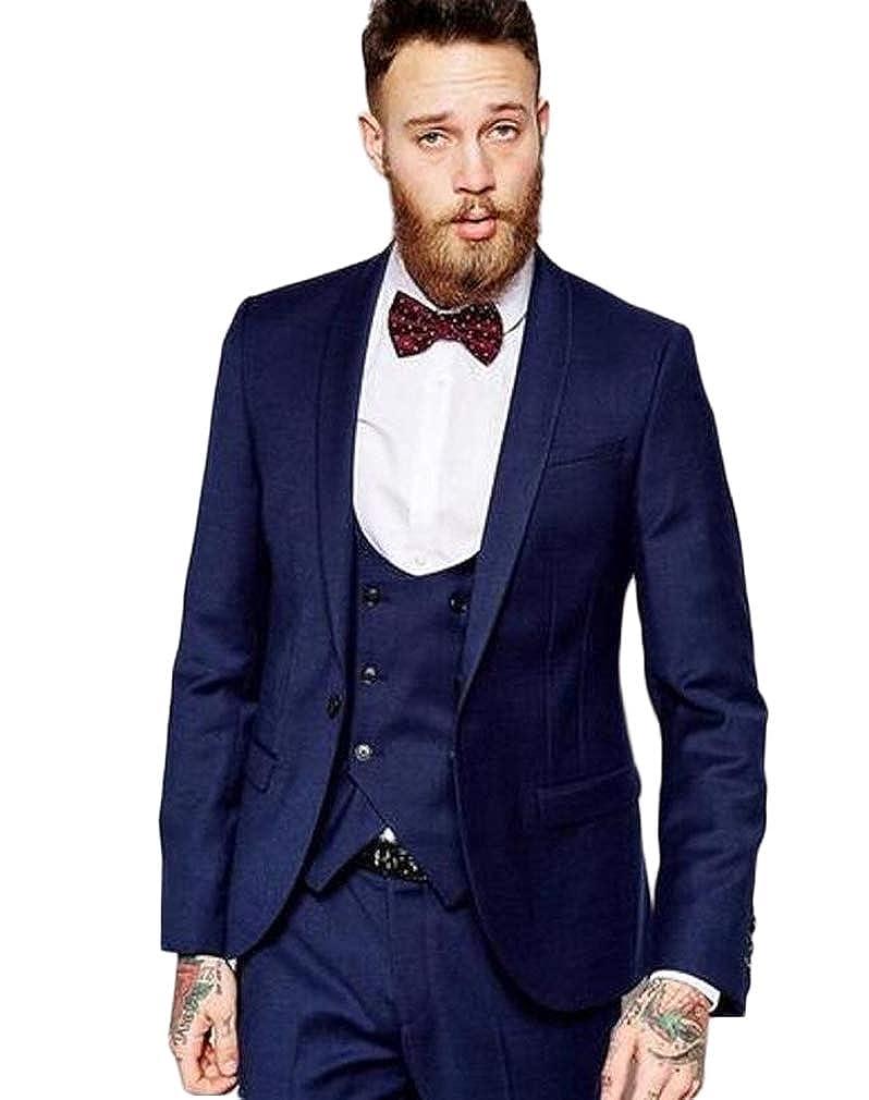 AK Beauty Navy Blue 3pc Shawl Lapel Men Suit Slim Fit Suit Business Suit Groom Suit Wedding Suit for Men