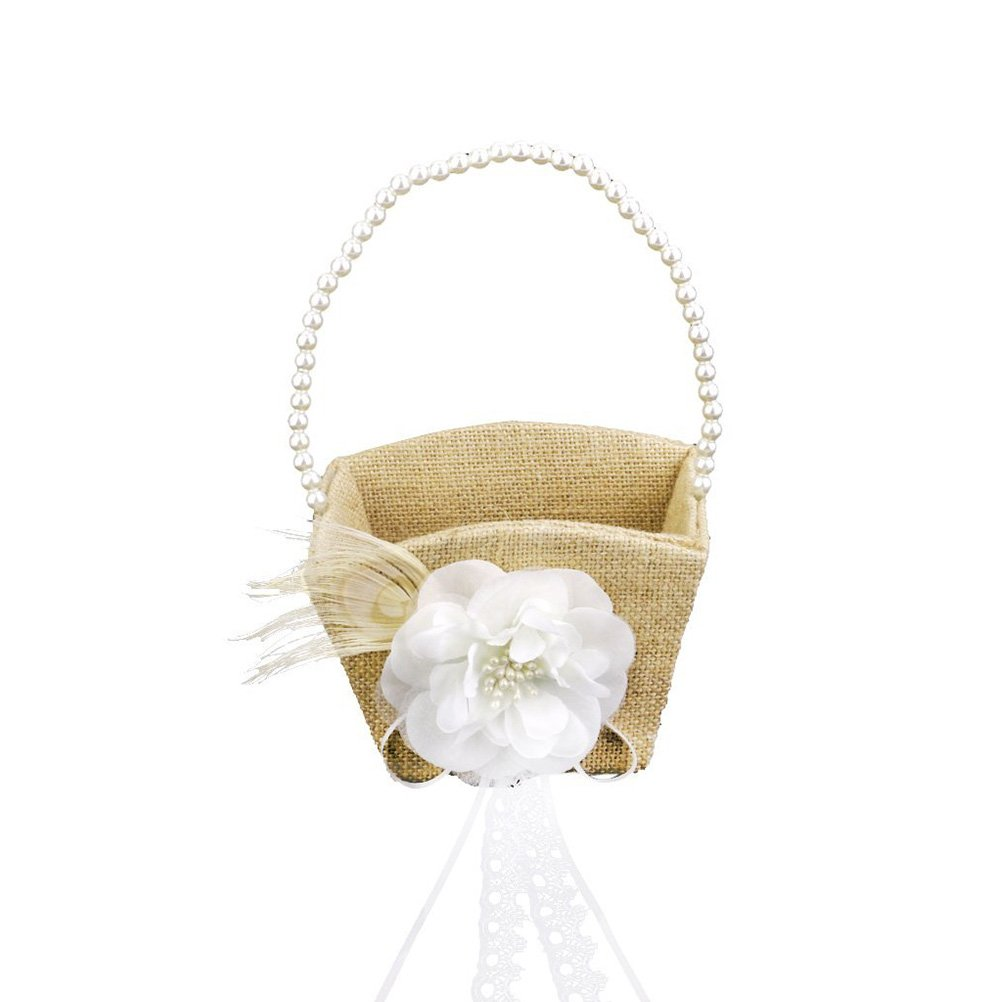 Tinksky Flower Gril Basket Vintage Pearl Ribbon Flower Decorated Burlap for Wedding Ceremony Party
