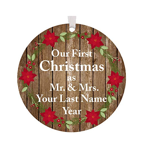 (The Trendy Turtle Personalized 2019 Our First Christmas as Mr. and Mrs. with Poinsettia Flowers Acrylic Christmas Tree Ornament Gift with Your Choice of Custom Last Name - 3.5 inches )