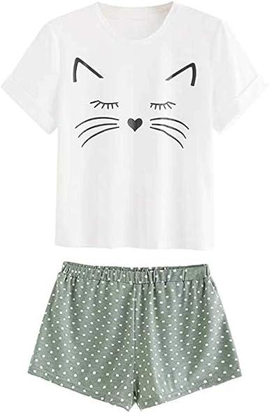 Conjunto de Pijama Mujer Verano Básica Estampado de Gatos Camiseta con Calzoncillos Blusa Talla Grande Camisa Transpirable Dos Piezas de Batas Largas ...