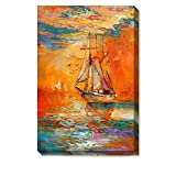 WallDeco Original Modern 30% Hand Painted Sailboat Painting on Canvas Sailing Abstract Wall Art Landscape Sunset Prints Home Decor for Living Room Ready to Hang Decorations 16x24 inch