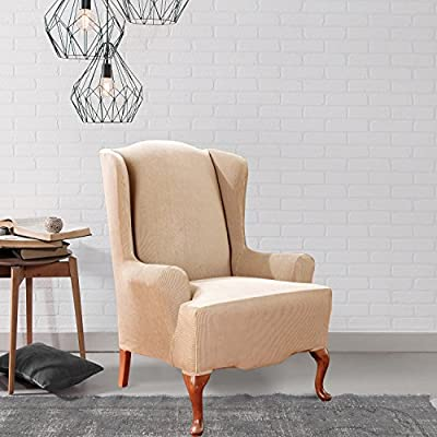 Sure Fit Stretch Stripe - Wing Chair Slipcover - Navy