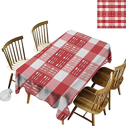 (Fabric Tablecloth W50 x L80 Checkered Cutlery Silhouettes on Squares Dining Picnic Themed Tile Spoons Forks Knives Red Pink White Great for Bar More)
