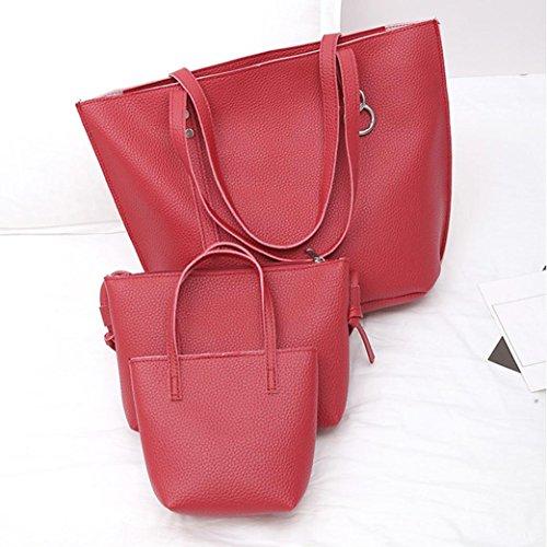 TPulling Weiche Art Und Weise Herbsttasche Damen Dreiteilige PU-Leder-Litschi-Schultertasche + Griff-Tasche + Tasche (Rot)