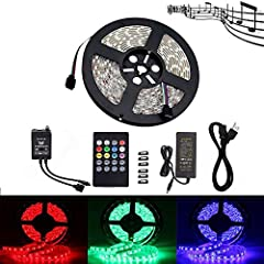 Product descriptionSpecifications:  LED Type: 5050 SMD LED RGB (IP65 Waterproof) Length: 16.4FT (5M) LED Quantity: 300LEDs / 16.4FT Beam angle: 120 degrees Input voltage: 12V DC Working Temperature: -20C to 50C Size: L 16.4ft x W 0.40inch x T...