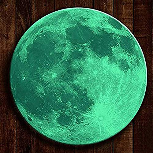 BOLLEPO Glow in The Dark Moon 30cm Night Light Glowing Luminous Wall Art Stickers Removable Adhesive Wall Decal for Kids Boy and Girl -