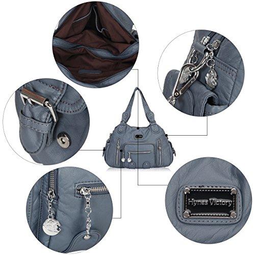 Pocket gris Bleu A à Gris A Souple Multi Main Sacs Veevan Femme pour PAqxZI