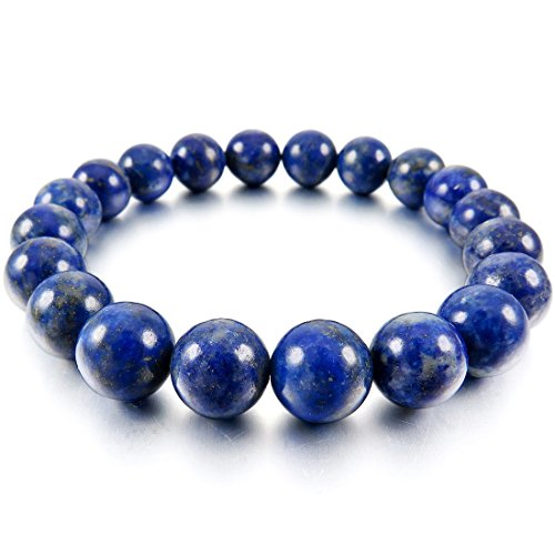 SODIAL(R) 10mm Cuff Link Wrist Blue Lapis Lazuli Stone Buddha Prayer Beads Woman, Man