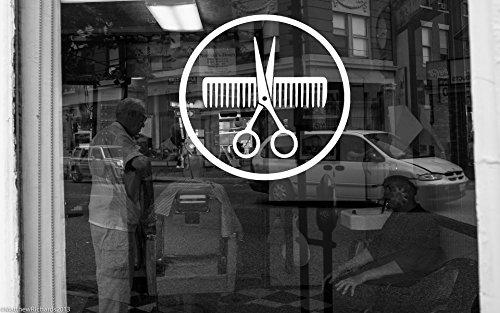 Wall Room Decor Art Vinyl Sticker Mural Decal Barber Shop Tools Hair Salon Scissors Comb Logo Emblem Symbol Big Large AS1148