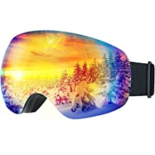 Ski Goggles,Patec Anti-Fog Wide Angle Spherical Snowboard Goggles Windproof Snowmobile Skate Goggles Unisex Snow Goggles with 100% UV400 Protection,Super-wide Angle and Spherical Dual-layer Lens,Bendable Frame,Anti-slip Strap for Men and Women,Grey