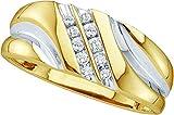 Size 11 - 10k Yellow Gold Mens Round Diamond 2-tone Wedding Anniversary Band Ring 1/8 Cttw