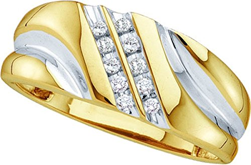 Size 13 - 10k Yellow Gold Mens Round Diamond 2-tone Wedding Anniversary Band Ring 1/8 Cttw