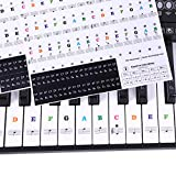 Piano Stickers for Keys, Ladash 2 Sheets Transparent Removable Piano Keyboard Letters Key labels for 49/61/ 76/88 Keyboards, No Trace after Sticking, Ideal for Piano Beginners(Colorful and Black)