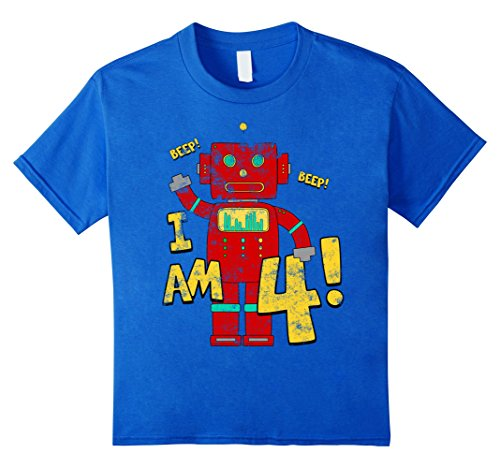 Kids 4th Birthday T-Shirt. Boys 4 years Birthday Party Robot Tee 6 Royal (50 Themed Party Clothes)