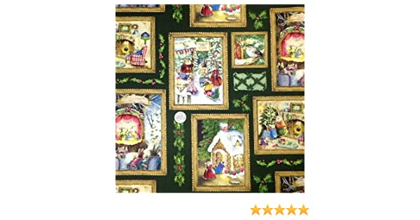 Holly Pond HillChristmas Bunnies Photo Album on Red Fabric Great for Quilting, Sewing, Craft Projects, Curtains, Pillows, More 1//2 Yard x 44 by Susan Wheeler 1//2 Yard