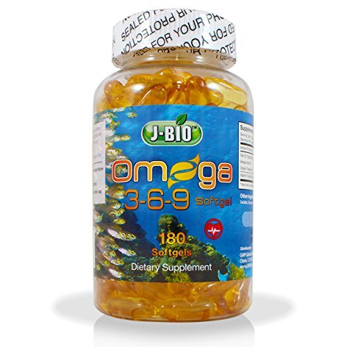 J-BIO Omega 3-6-9 Fish Oil Pills (180 Counts) - Triple Strength Fish Oil Supplement (800mg Fish oil Triglycerides: 800mg Borage Seed oil + 800 mg Organic Flaxseed oil)) by J-Bio B01J4V31DI