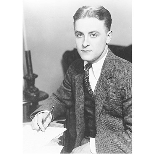 F. Scott Fitzgerald 8 Inch x 10 Inch photograph Writer The Curious Case of Benjamin Button The Great Gatsby The Last Time I Saw Paris B&W Seated w/Pencil at the Ready kn