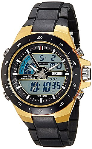 Skmei Analog Digital Multi Colour Dial Unisex Watch   1016BBGO