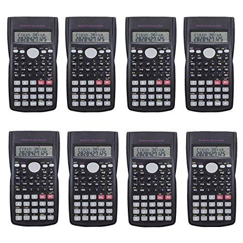 Pack 8 pcs Scientific Calculator,Double Lines Display Engineering Scientific Calculator with Slide Off Case(8pcs)