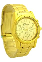 Geneva Fashion`s Metal Quartz Link Watch for Women gold tone - 1