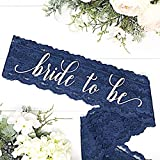 Lace Bachelorette Sash - Navy Lace - White''Bride To Be''