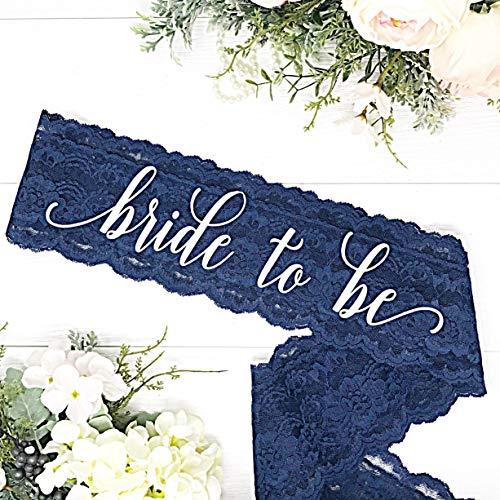 Lace Bachelorette Sash - Navy Lace - White''Bride To Be'' by Lauren Lash Designs
