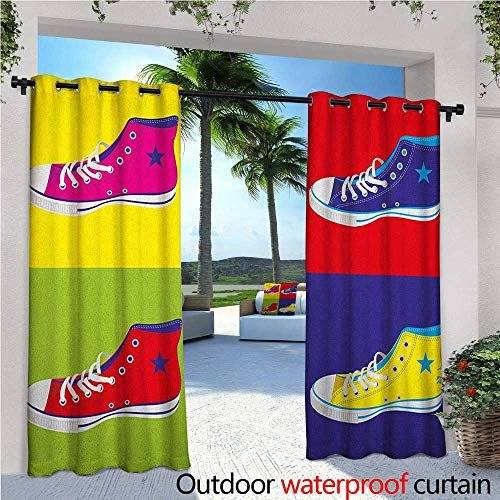 Teen Room Patio Curtains Retro Style Kitsch Sport Shoes in Background Culture Graphic Print Outdoor Curtain for Patio,Outdoor Patio Curtains W96 x L84 Multicolor (T-mac Basketball Shoes)