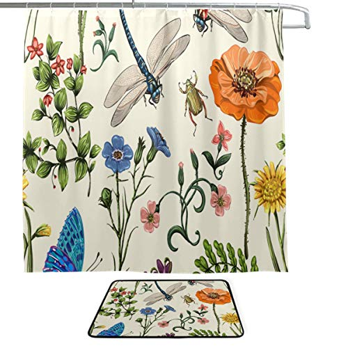 (KUneh Dragonfly Hand Animated Animal Wings Butterfly Bush Single-Sided Printing Shower Curtain and Non-Slip Bath Mat Rug Floor Mat Combination Set with 12 Hooks for Bathroom Decor and Daily Use)